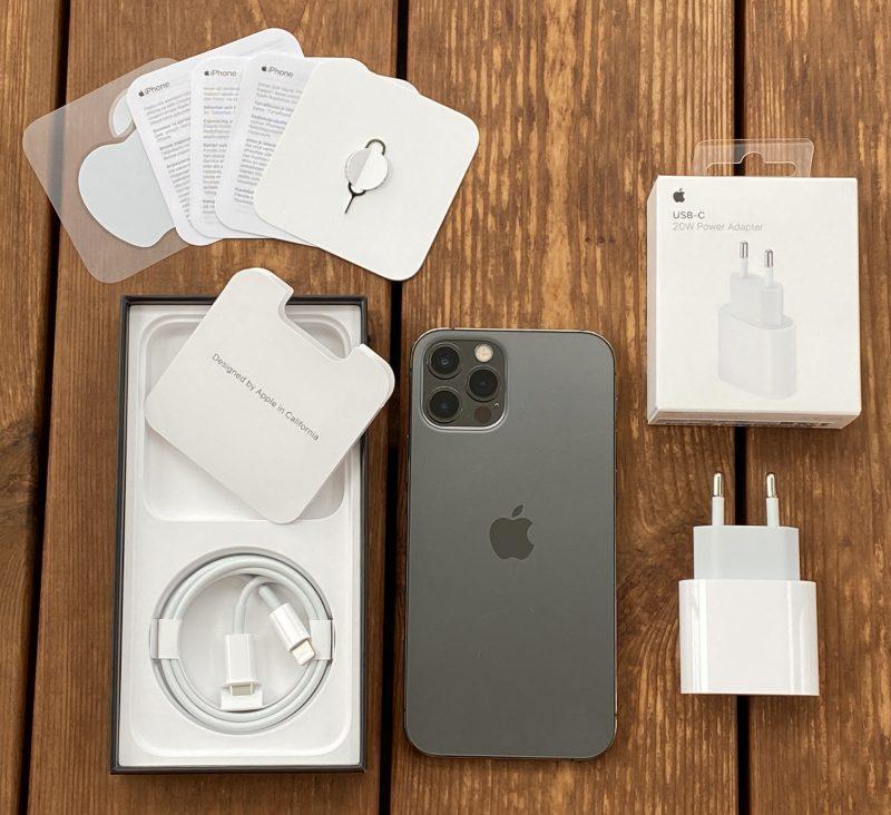 iPhone 12 Pron myyntipakkauksesta löytyy vain USB-C-Lightning-kaapeli. 20 watin Apple-laturi myydään erikseen.