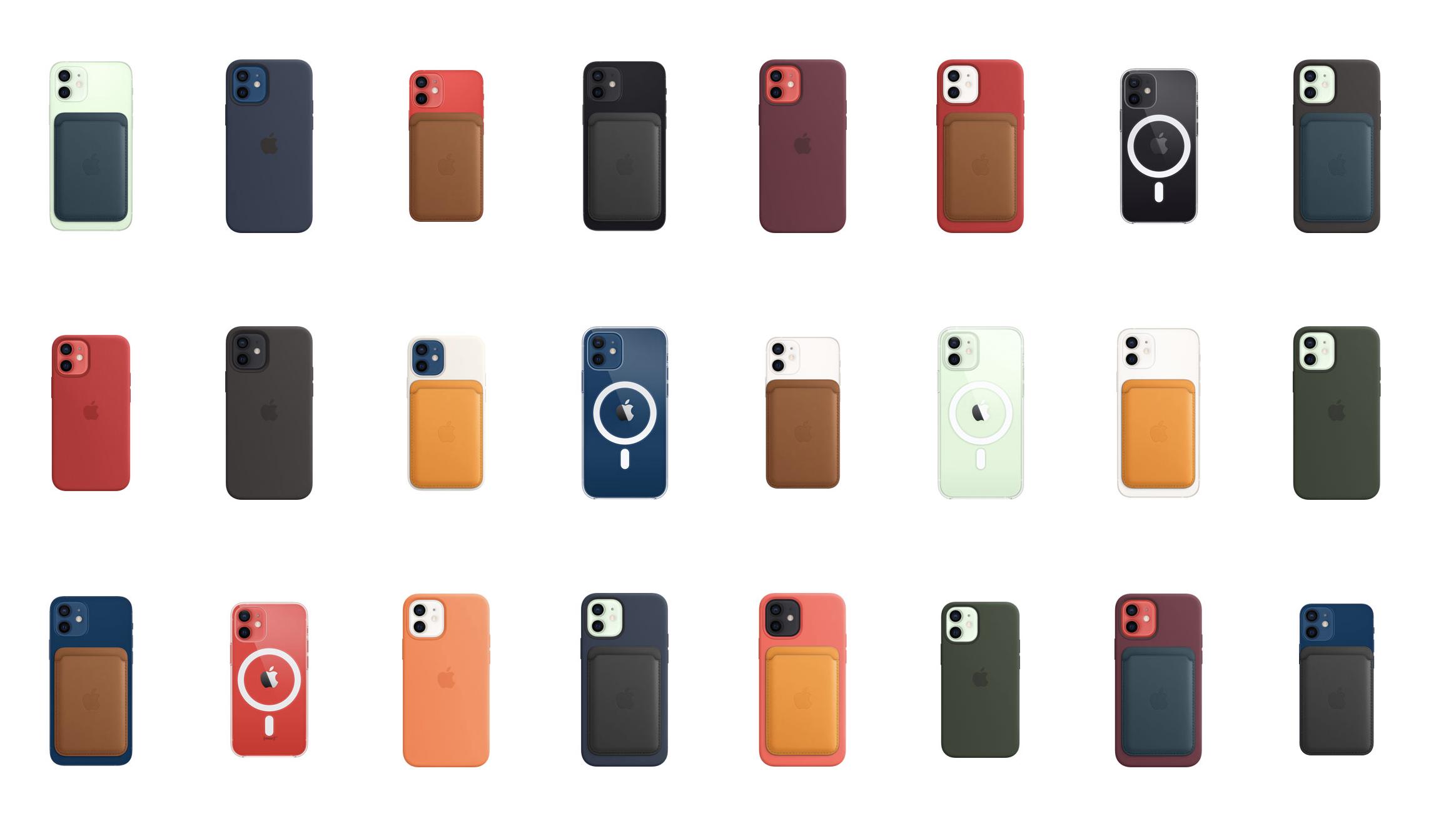 iPhone 12 -puhelinten MagSafe-suojakuoria ja -nahkalompakoita.