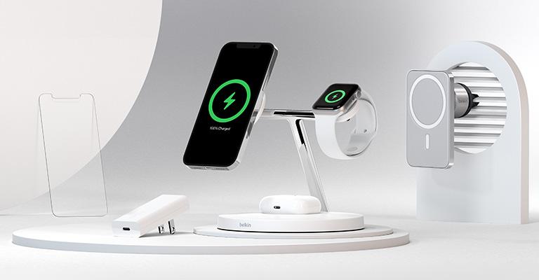 Belkinin 3-in-1-MagSafe-laturi sisältää paikat iPhone 12 -puhelimelle, Apple Watchille ja AirPods-kotelolle.