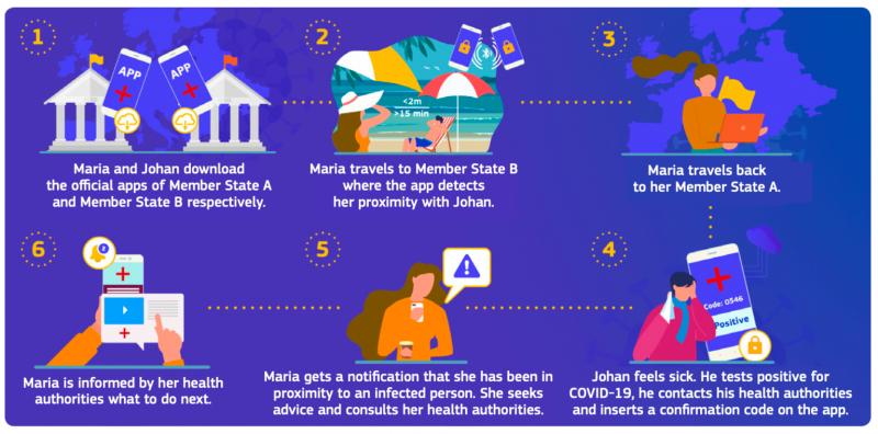 Näin eri maiden koronaviruskontaktien jäljityssovellusten yhteistoiminta yksinkertaistetusti toimii.