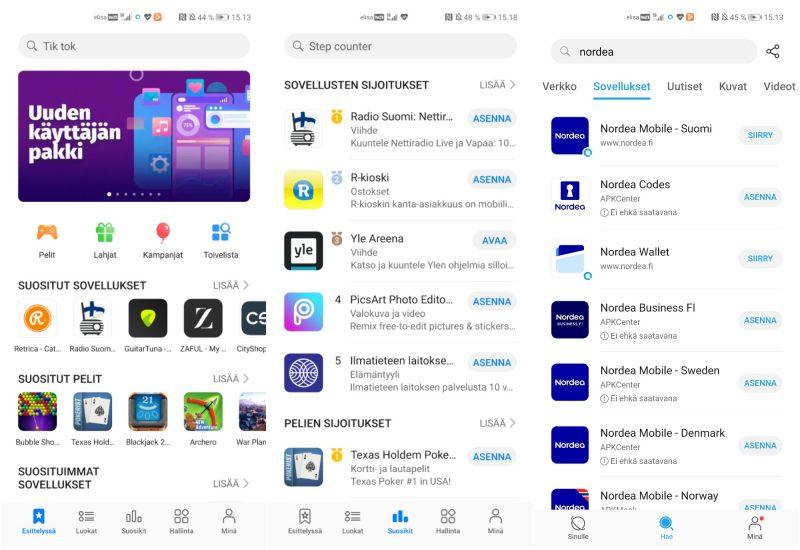 Huawein AppGallery-sovelluskaupan valikoima kasvaa, mutta varsin hitaasti. Oikealla puolella esimerkki Petal-haun tuloksista verkosta saatavista Nordea-sovelluksista.