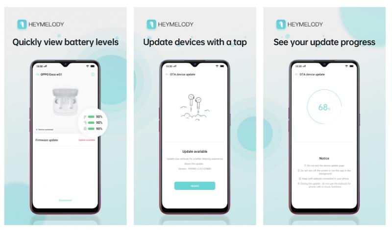 HeyMelody-sovellus mahdollistaa Oppo- ja OnePlus-kuulokkeiden päivitykset.