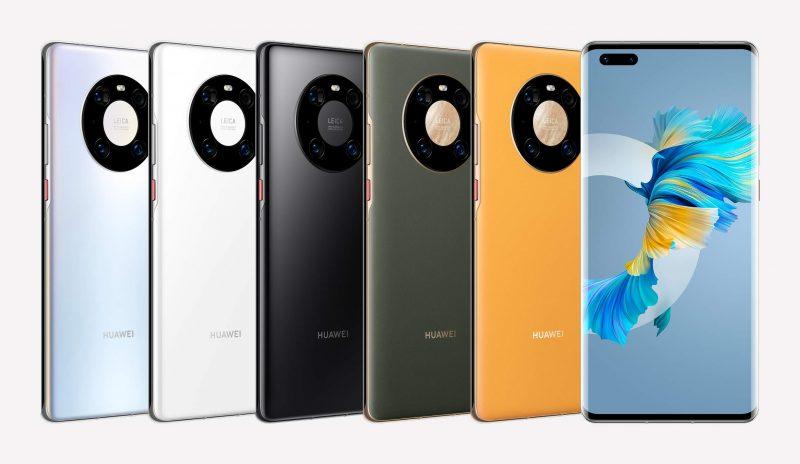 Huawei Mate40 Pron kaikki eri värivaihtoehdot.