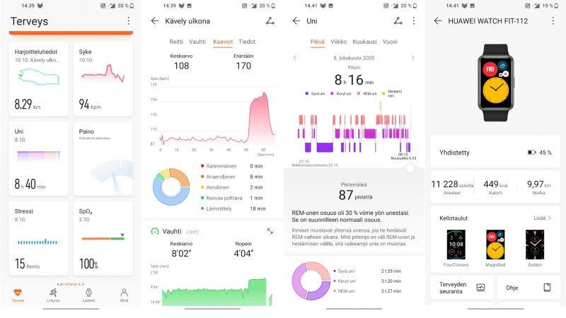 Huawei Health -sovelluksella voi tarkastella suoriutumistaan.