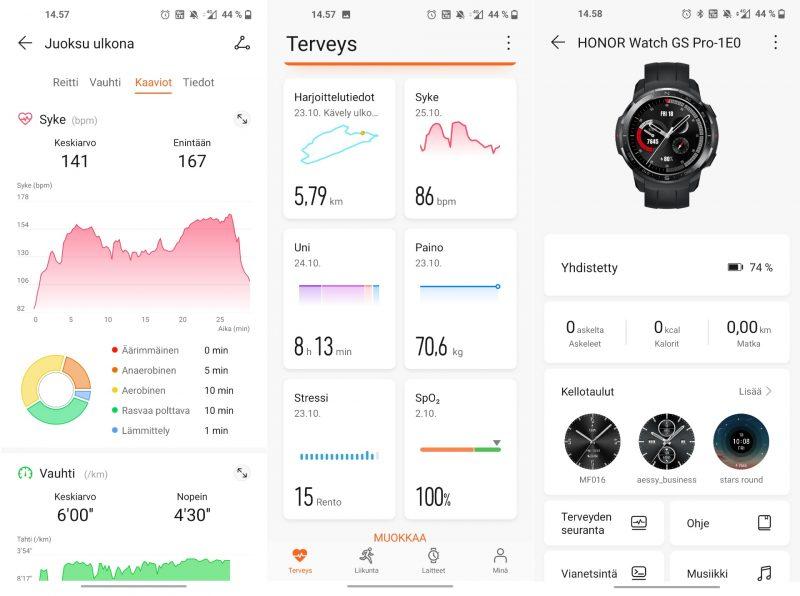 Huawei Health -sovelluksella hoituvat niin parittaminen, päivittäminen kuin harjoitustietueiden tarkastelukin.