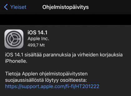 iOS 14.1 on nyt ladattavissa.