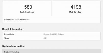 Uuden A14 Bionic -järjestelmäpiirillä varustetun 4. sukupolven iPad Airin GeekBench-testitulos.