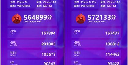 iPhone 12:n ja iPhone 12 Pron AnTuTu-testitulokset.