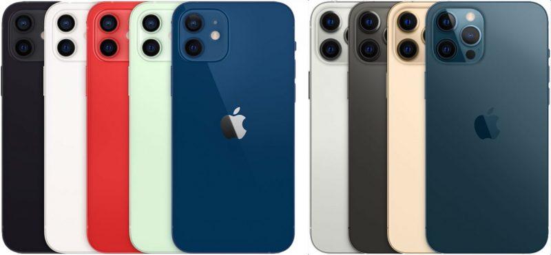 iPhone 12:n ja iPhone 12 Pron värivaihtoehdot.