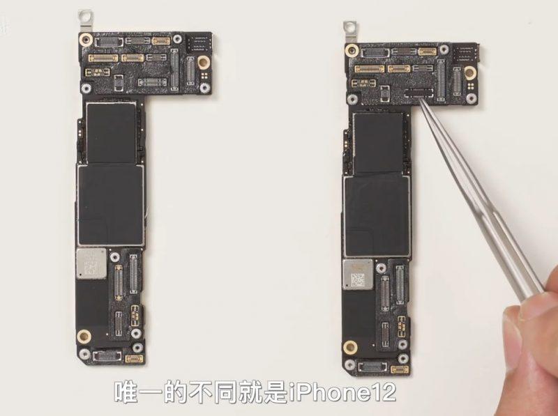 iPhone 12:n ja iPhone 12 Pron piirilevyt.