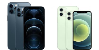 iPhone 12 Pro ja iPhone 12 Pro Max sekä iPhone 12 ja iPhone 12 mini.