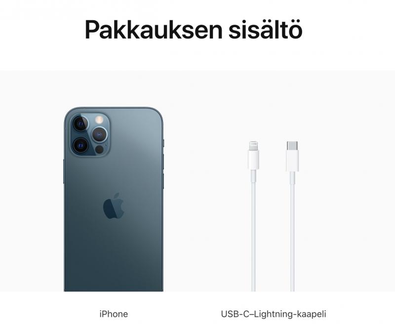 Kaikkien neljän iPhone 12 -mallin myyntipakkauksessa on mukana puhelimen lisäksi vain kaapeli.
