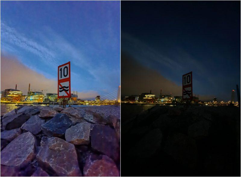Ultralaajakulmakamerat vertailussa. Vasemmalla Mate40 Pro, oikealla iPhone 11 Pro Max.