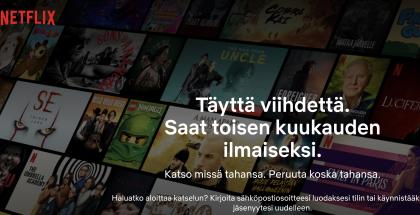 Netflix ei tarjoa enää ilmaista kokeilujaksoa tilauksen alussa, mutta toisen kuukauden saa ilmaiseksi.