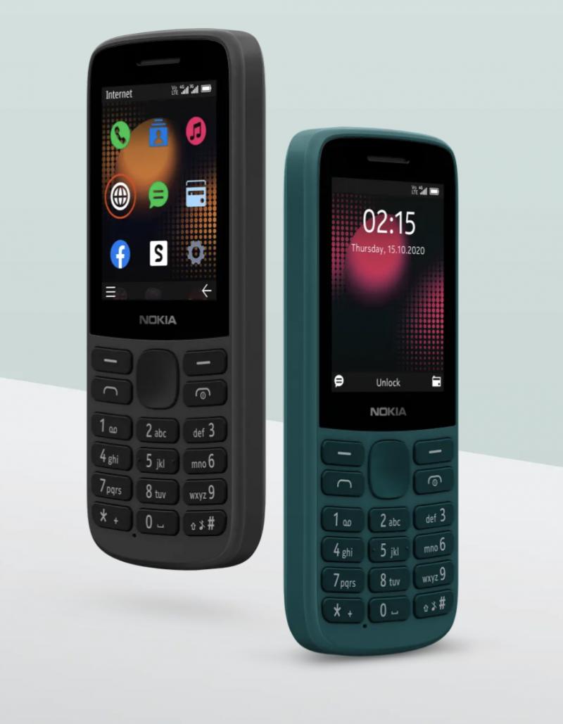 Nokia 215 4G eri väreissä.