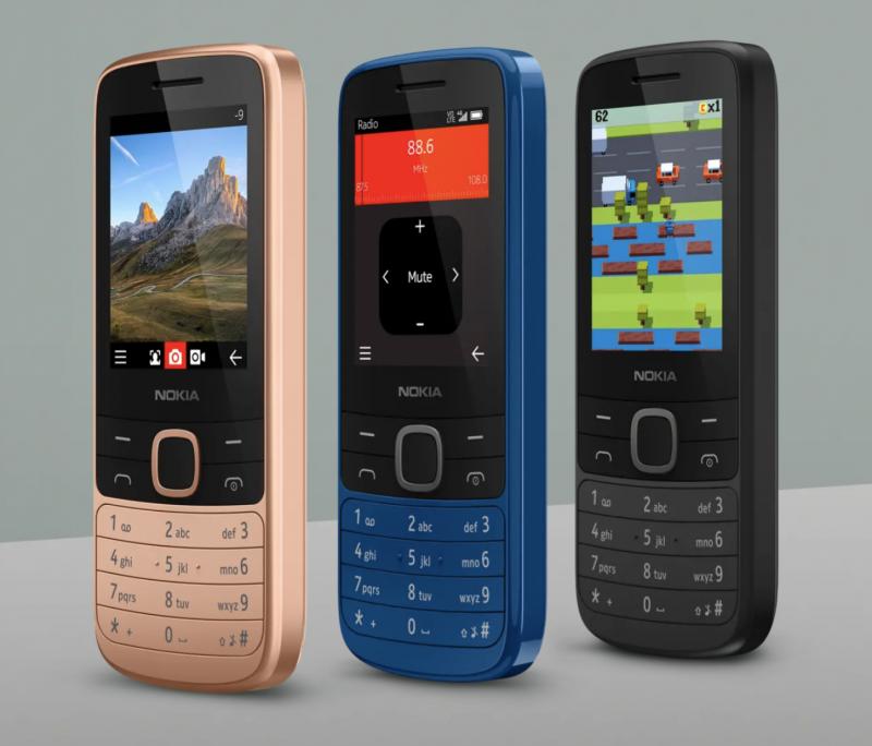 Nokia 225 4G eri väreissä.