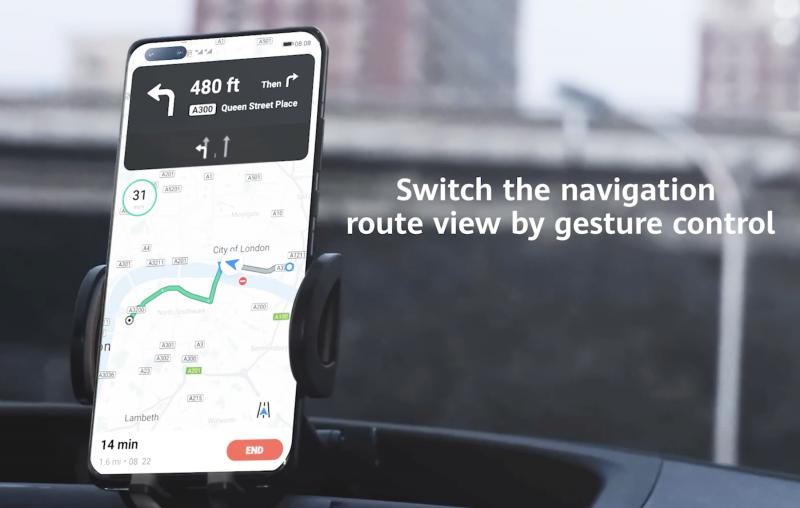 Tuoreissa Huawei-huippupuhelimissa Petal Maps tukee eleohjausta.