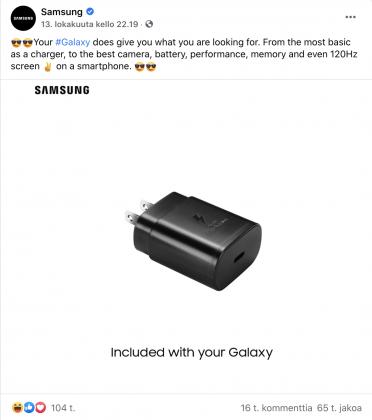 Tämän Facebook-postauksen Samsung on nyt poistanut. Päivityksessä kehuskeltiin Samsungin Galaxy-puhelinten mukana tulevalla laturilla heti iPhone 12 -julkistuksen jälkeen.