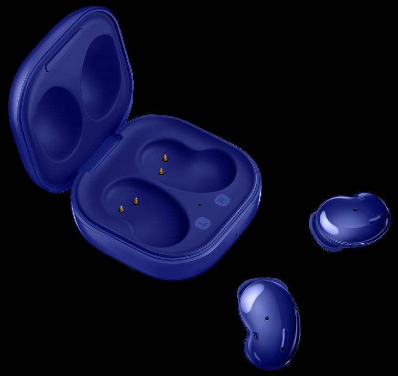 Mystic Blue -väriset Samsung Galaxy Buds Live -kuulokkeet ja niiden latauskotelo.
