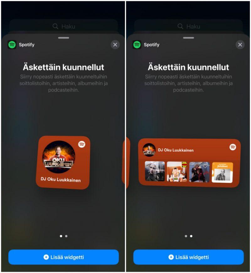 Spotify tarjoaa kaksi erilaista widget-kokovaihtoehtoa.