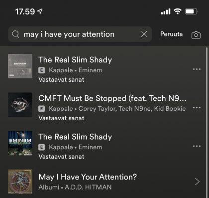 Spotify-haku tunnistaa nyt osan lyriikoista.