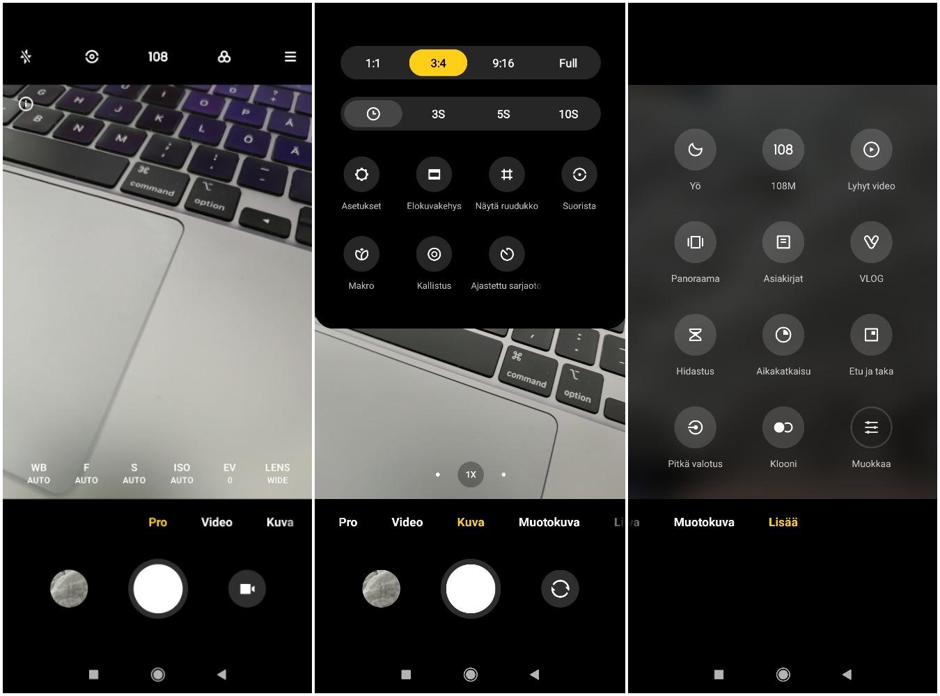 Mi 10T Pron kamerasovelluksessa on tarjolla todella kattavasti erilaisia kuvaustiloja ja -asetuksia.