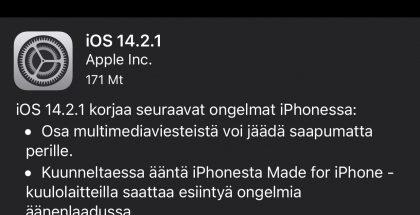 iOS 14.2.1 on ladattavissa iPhone 12 -puhelimille.