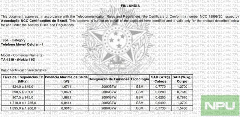 Uuden Nokia 110:n sertifiointidokumentti Brasiliasta. Kuva: Nokiapoweruser.