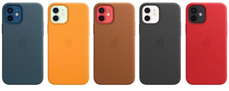 iPhone 12 minin, iPhone 12:n, iPhone 12 Pron ja iPhone 12 Pro Maxin nahkakuorista on viisi värivaihtoehtoa.