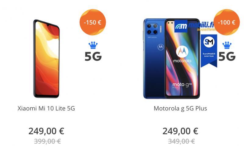Elisan 5G-päivän 249 euron tarjoukset.
