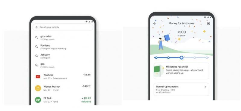 Google Payn Plex-tilit tarjoavat hakutoimintoja tilitapahtumiin ja mahdollistaa säästämistavoitteiden asettamisen.