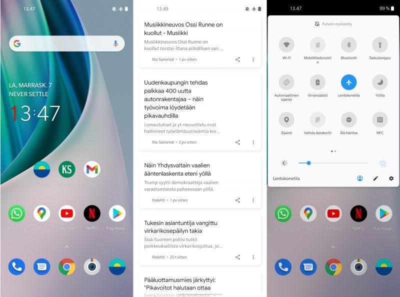 OxygenOOnePlus Nord N10 5G:n OxygenOS 10.5 on lähellä vakio-Androidia.S 10.5 on helppokäyttöinen Android-liittymä.