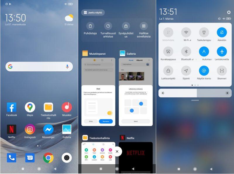 Kuvakaappauksia Android 10 -pohjaisesta MIUI 12 -käyttöliittymästä.