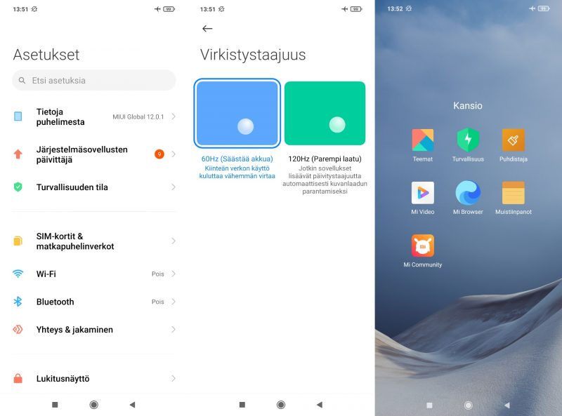 Xiaomi Mi 10T Liten asetuksia ja Xiaomin esiasennettuja sovelluksia.