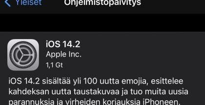 iOS 14.2 on nyt ladattavissa.