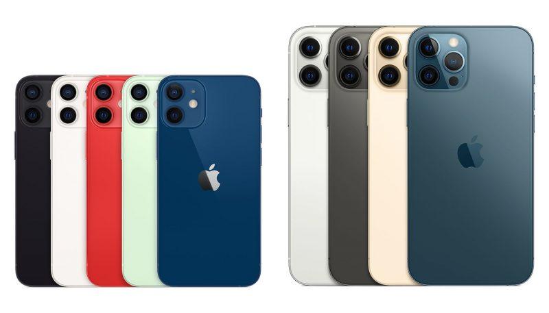 iPhone 12 minin ja iPhone 12 Pro Maxin värivaihtoehdot.