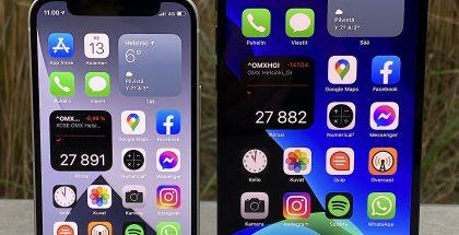 iPhone 12 mini ja iPhone 12 Pro Max. Kokoero suurimman ja pienimmän iPhone 12 -mallin välillä on melkoinen.