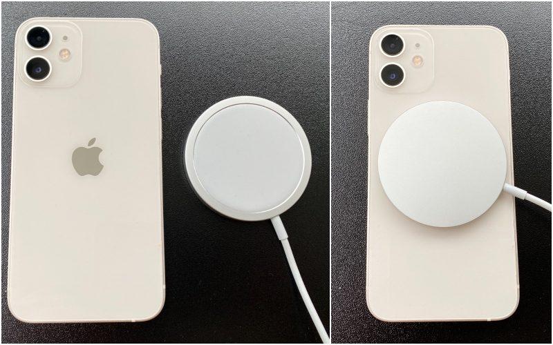 Myös iPhone 12 mini tukee MagSafe-latausta. Apple myy MagSafe-laturia 45 euron hintaan, minkä lisäksi tarvitaan virtalähde.