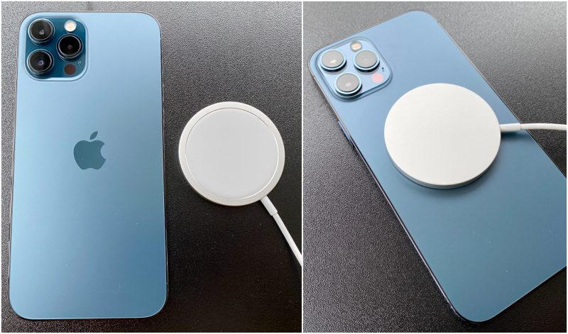Myös iPhone 12 Pro Max tukee MagSafe-latausta. MagSafe-laturi kiinnittyy ja asettuu tarkasti magneettien ohjaamana. Erikseen myytävän MagSafe-laturin hinta on 45 euroa, minkä lisäksi se tarvitsee vielä virtalähteekseen laturin.