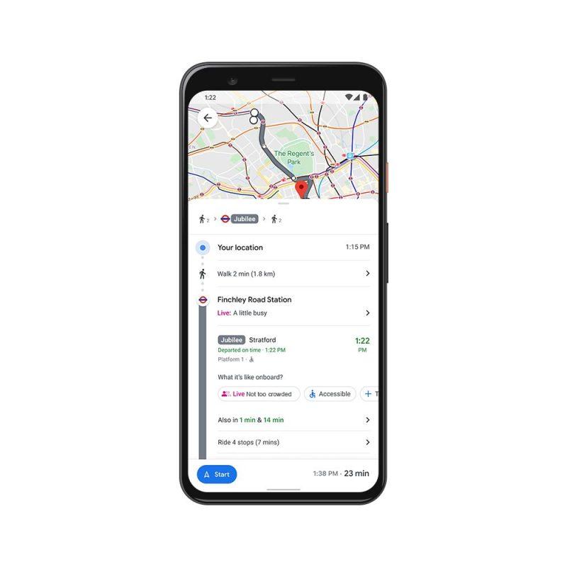 Google Maps tarjoaa muun muassa parempaa tietoa julkisen liikenteen ruuhkista.