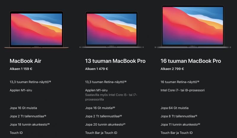 MacBook Air siirtyi jo kokonaan Apple Silicon -aikaan, ja 13 tuuman MacBook Pro osittain. 16 tuuman MacBook Pro odottaa vuoroaan seuraavien joukossa.