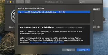 macOS Catalina 10.15.7:n lisäpäivitys on saatavilla.
