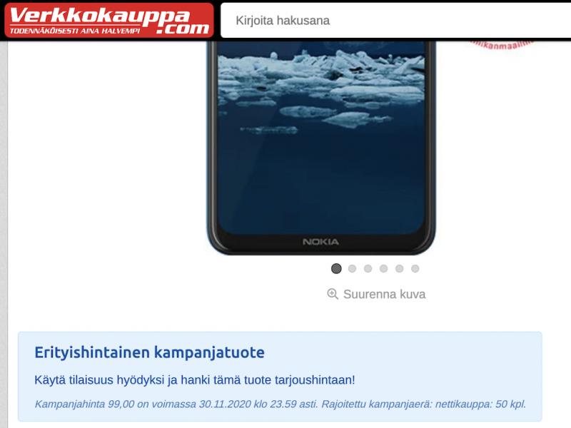 Nokia 5.3:n Cyber Monday -tarjous Verkkokauppa.comilta oli saatavilla kahdessa värissä, kumpaistakin 50 kappaletta.