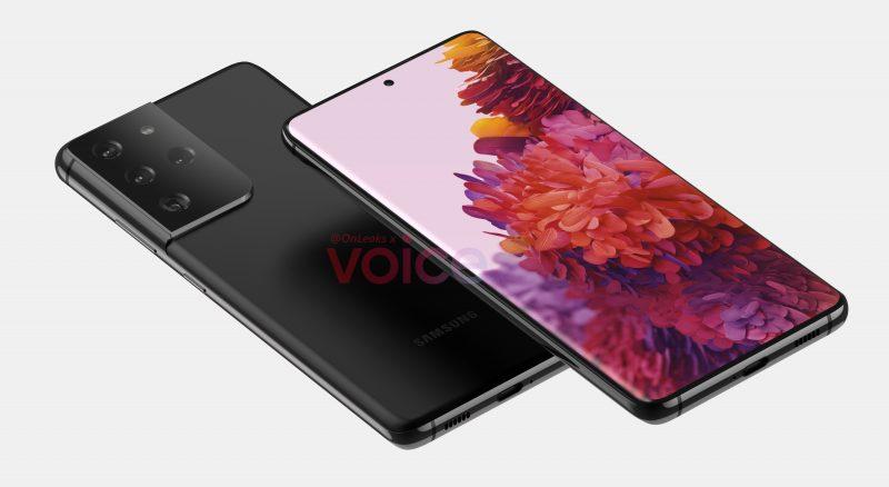 Vanhempi Samsung Galaxy S21 tai S30 Ultra -mallinnos, jossa ei päivitettyä takakamerakohoumaa. Kuva: OnLeaks / Voice.