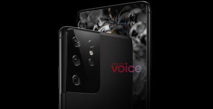 Takakameroiden suhteen päivitetty Samsung Galaxy S21 tai S30 Ultra -mallinnos. Kuva: OnLeaks / Voice.