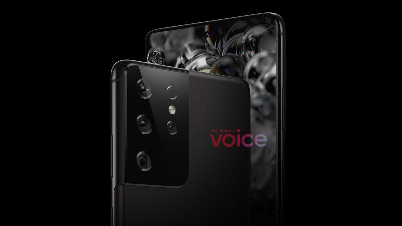 Samsung Galaxy S21 tai S30 Ultra -mallinnos. Kuva: OnLeaks / Voice.