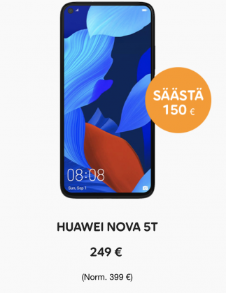 Huawei Nova 5T -tarjous Telialta.