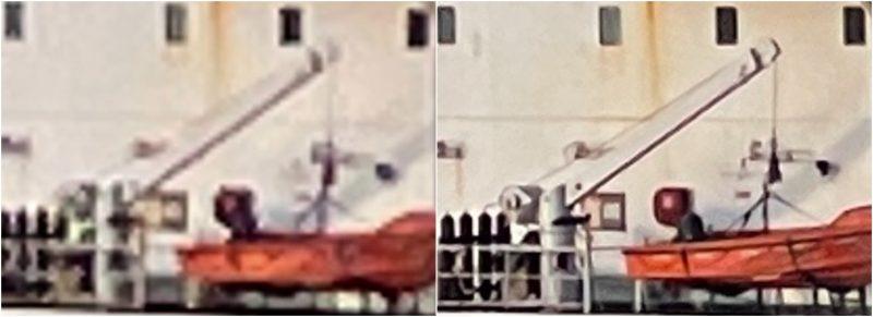Rajaus 5x-zoom-kuvasta. Vasemmalla iPhone 12 mini, oikealla iPhone 12 Pro Max.