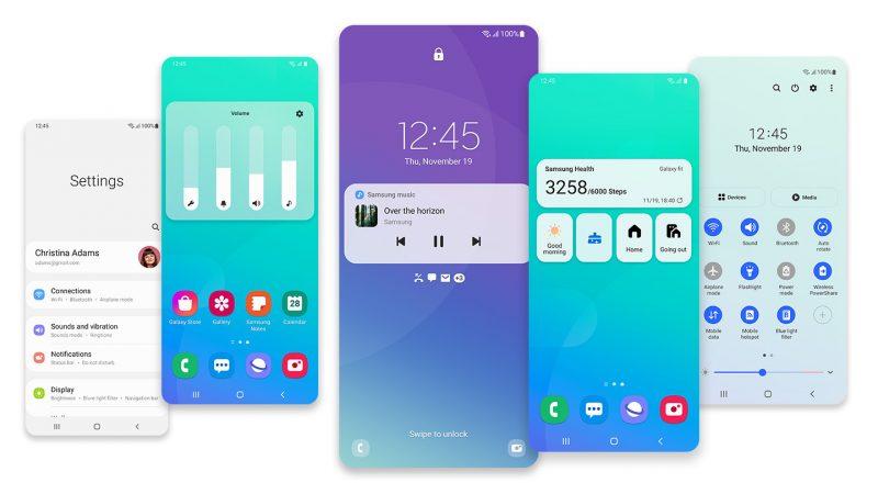Kuvankaappauksia Samsungin Android 11 -päivityksestä eli One UI 3:sta.