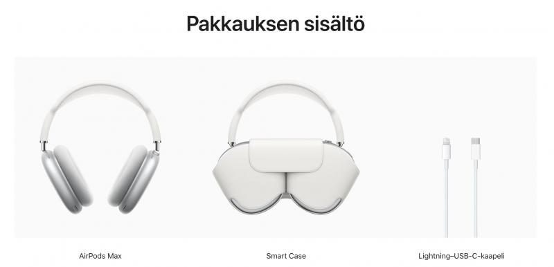 AirPods Max -kuulokkeiden myyntipakkauksen sisältö.
